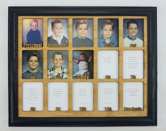 School Years Picture Frame - Personalized With Any Name - 10 Color Choices (Shown with Black Frame) - Preschool to Graduation Frame - 11x14