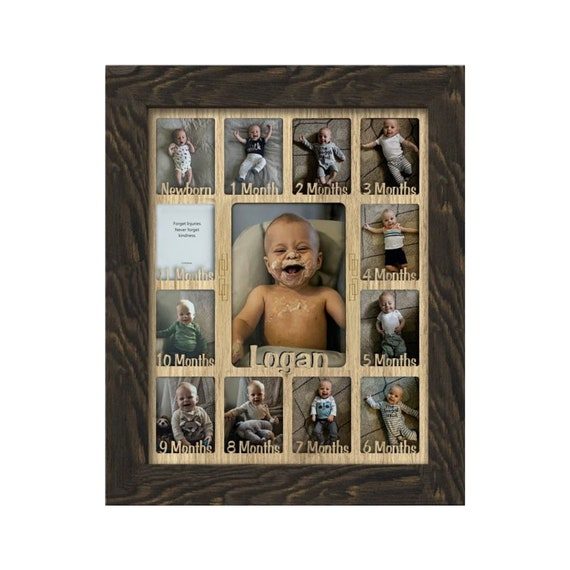 Customizable with Any Name Northland Baby First Year Personalized Frame Holds Twelve 2.5 x 3.5 Newborn Photos and 5 x 7 One Year Picture Black Insert Barnwood Black Frame
