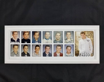 School Years Picture Frame - Personalized with Any Name -10 Color Options (Shown with White Frame) - 7x20