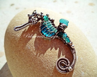 TURQUOISE TEAL seahorse wire wrapped seaglass pendant.