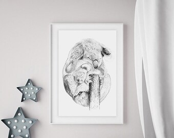 "Nursery art limited edition Giclee print ""Koala snuggle"""
