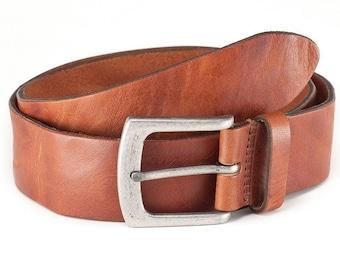 Leather belt tan vintage jeans belt men fullgrain leather old silver buckle
