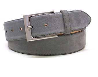 Grey suede leather belt mens jeans belt finest suede leather with fine tonal stitching polished silver buckle belt made by hand