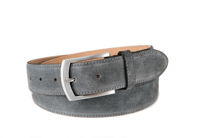 bceda9b83ae Mens belt dark grey suede leather belt brushed silver buckle