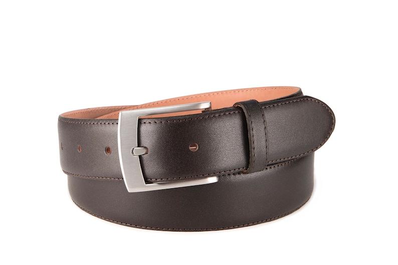 Mens dress belt dark brown leather belt wedding belt classic suit mens belt with matt silver buckle