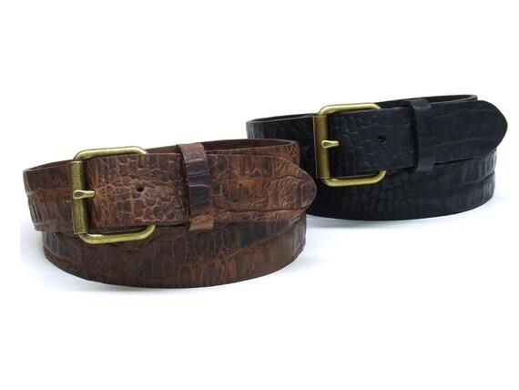 Ceinture jeans vintage de Croco Croco boeuf plein cuir lavé   Etsy 99b3bdb40e8