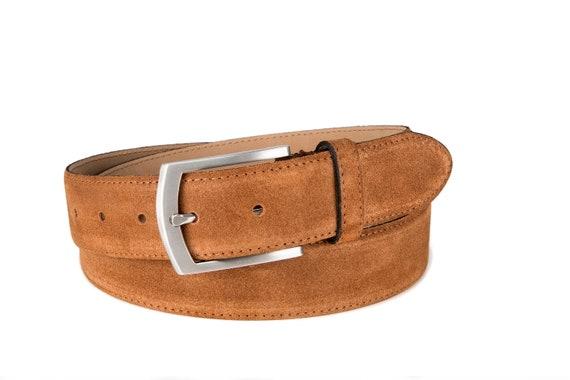 Italien Daim Ceinture Hommes Femmes suede belt COGNAC 3,5cm de large