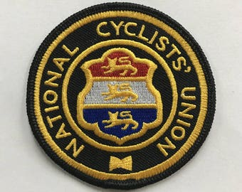 National Bike Union embroidered patch, Vintage design
