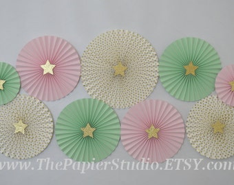 Twinkle Twinkle Little Star, Pink Mint Green and Gold Set of 9 (NINE) Paper Rosettes