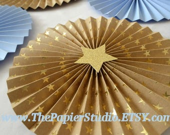 Blue, Kraft and Gold Stars, Baby Boy, Twinkle Twinkle Little Star set of 8 Paper Rosettes