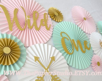 Wild One, Two Wild, Wild & Three, Pink and Mint/Aqua Set of 19 Paper Rosettes, Tribal, Boho Party