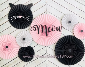 Meow, Kitty Cat, Pink and Black Set of 6 Paper Rosettes