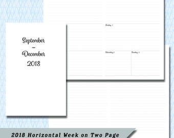 Pocket / Field Note 2018  4 Month Horizontal  Week on Two Page DATED September through December Calendar Insert