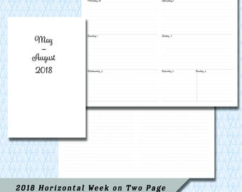 Pocket / Field Note 2018  4 Month Horizontal  Week on Two Page DATED May through August Calendar Insert