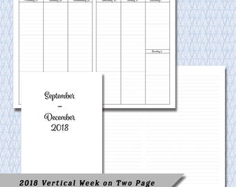 Pocket / Field Note 2018  4 Month Vertical  Week on Two Page DATED September through December Calendar Insert
