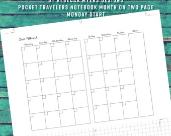 Build Your Own Planner Pocket/Field Note 12 Month Insert MONDAY Start