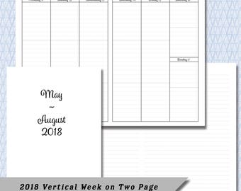 Pocket / Field Note 2018  4 Month Vertical  Week on Two Page DATED May through August Calendar Insert