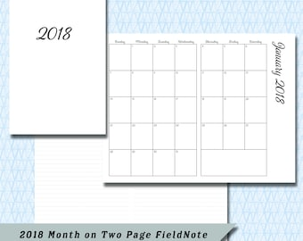 Pocket / Field Note 2018 Month on Two Page DATED Calendar Insert