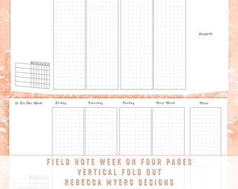 Field Note/Pocket Monday Start Traveler's Notebook Fold Out Monthly Calendar and Week On Four Pages