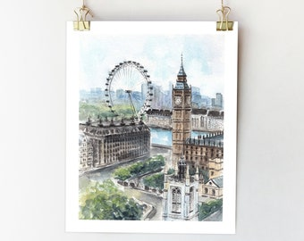London City Poster Print United Kingdom Scenic landscape landmarks Travel Artwork Home Decor Bedroom Bathroom Wall Art
