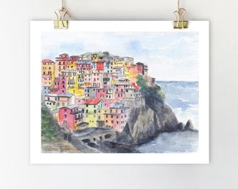 1c72a72255d8 Cinque Terre Italy print Italy wall art Liguria painting Italy art Colorful  poster Cinque Terre print Italy art print Cinque Terra wall art