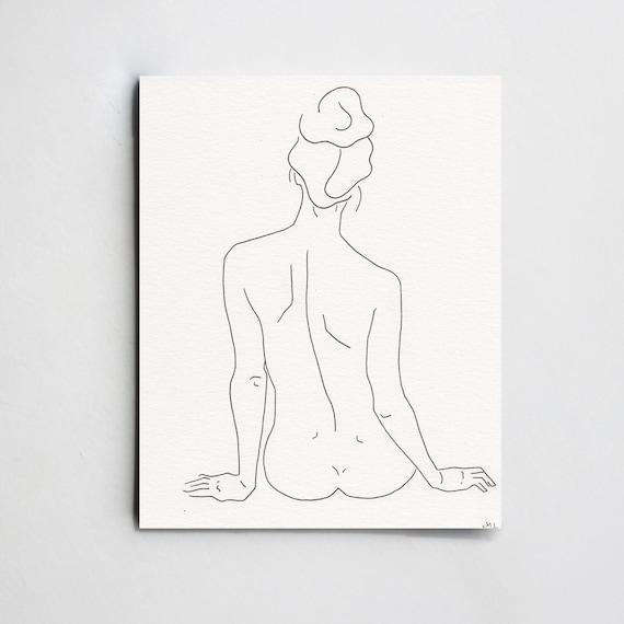 Dessiner Une Silhouette De Femme silhouette minimalistic drawing. minimal art. woman back. | etsy