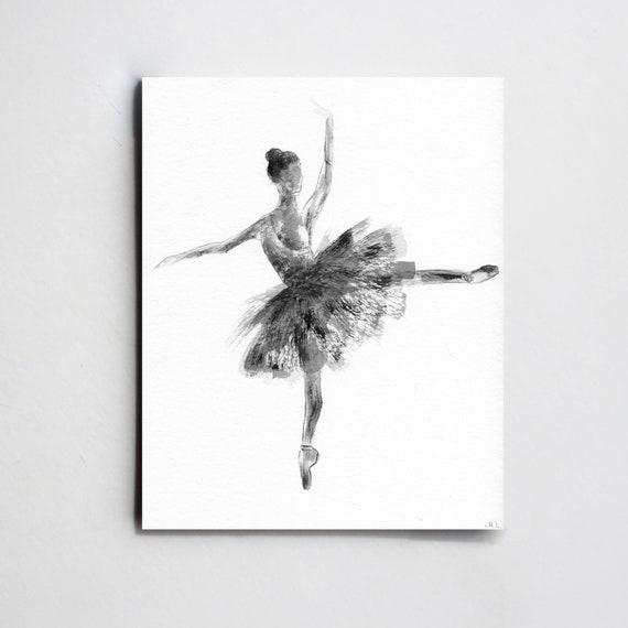 Ballerina Illustration Black And White Ballerina Sketch Etsy