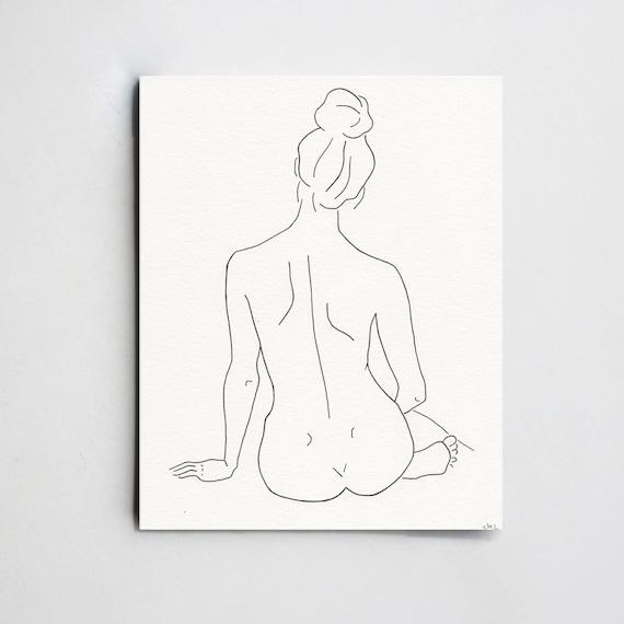 Art De Silhouette De Femme Simple Dessin Au Trait Minimaliste Etsy