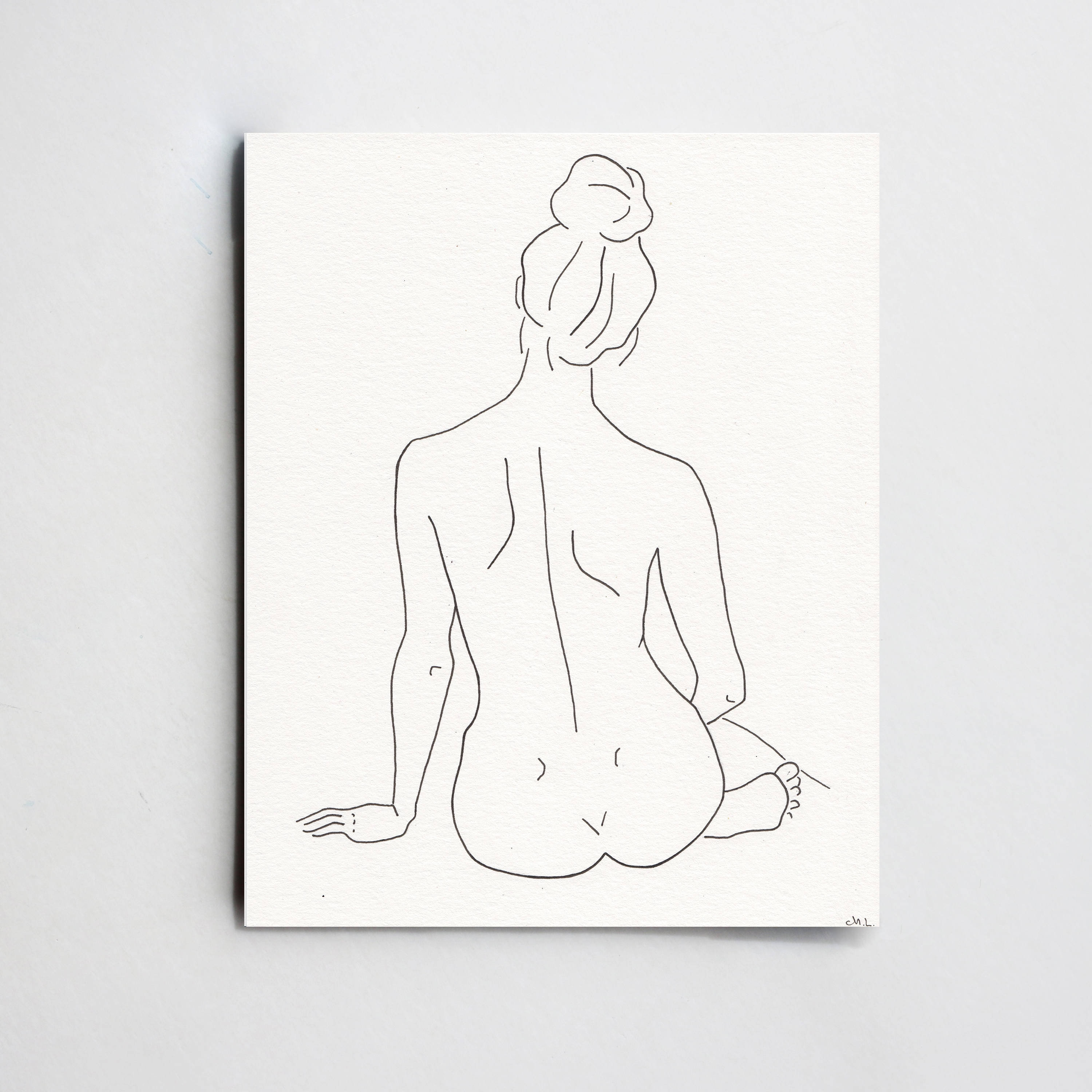 Black nude woman silhouette Simple Woman Silhouette Art Minimalistic Line Drawing Woman Etsy