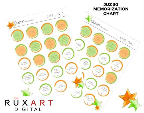 Juz Amma Memorization Chart - Orange and Green Star Design  Juz 30 Chart -  Islamic Printable, Digital Download Only