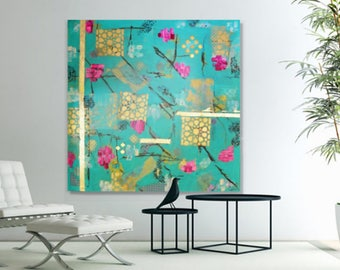 Original Large Abstract Mixed Media Painting  - Cherry Blossoms