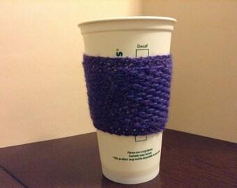 Handmade Knit Coffee Cozy, Reusable, Coffee Sleeve