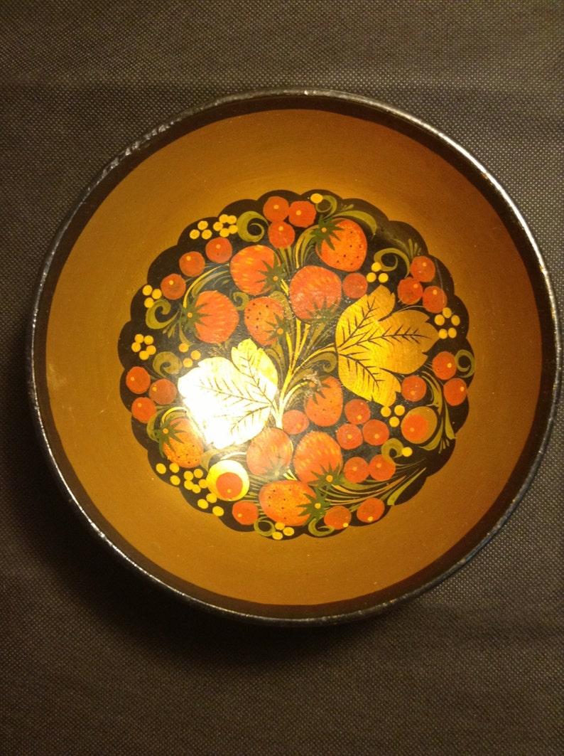 Bowl Dish Plate Russian Antique Hand Painted Natural Khokhloma USSR Soviet Rare Original Vintage Special Flowers Berry Unique