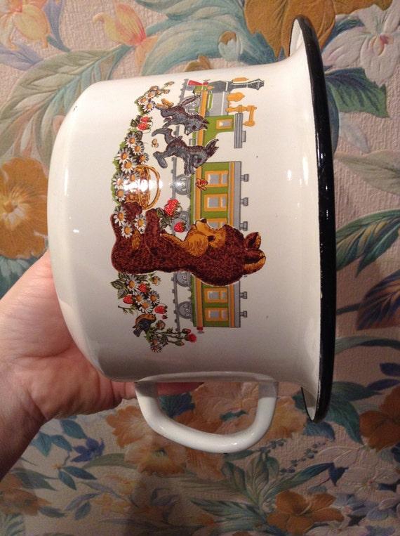 mug vintage coupe ours en mail avec couvercle antique russie etsy. Black Bedroom Furniture Sets. Home Design Ideas