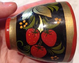 Khokhloma Russian little vase. Wooden. USSR