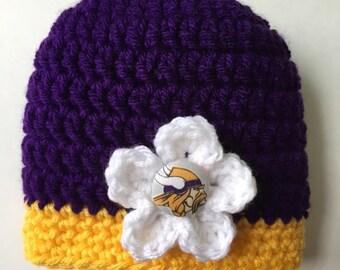 5c986bce3ef Minnesota Vikings baby hat for baby boy or girl