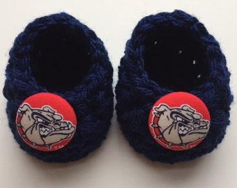 Gonzaga Bulldogs baby booties, Gonzaga Bulldogs baby gift, baby shoes, crochet baby booties, booties for baby, crochet baby shoes