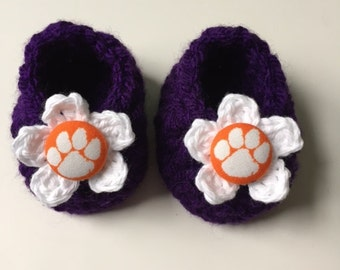 Clemson baby girl booties, baby booties, infant shoes, crochet baby booties, booties for baby, crochet baby shoes