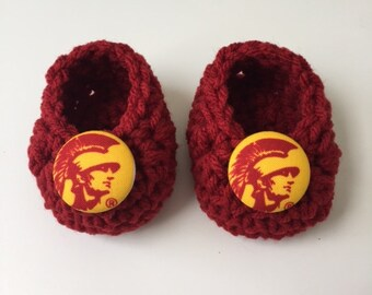USC baby booties, Trojans baby booties, USC baby gift, baby shoes, crochet baby booties, booties for baby, crochet baby shoes