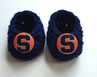 Syracuse baby booties, baby booties, infant shoes, crochet baby booties, booties for baby, crochet baby shoes
