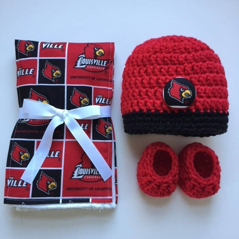 a6253eaa0 University of Louisville hat, booties and burp cloth for baby, Louisville  Cardinals baby shower gift, Louisville crocheted hat and booties