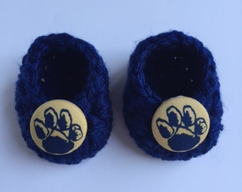University of Pittsburgh baby booties, baby booties, infant shoes, crochet baby booties, booties for baby, crochet baby shoes