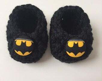 Batman baby booties, Batman baby gift, Batman shower gift,  infant shoes, crochet baby booties, booties for baby, crochet baby shoes