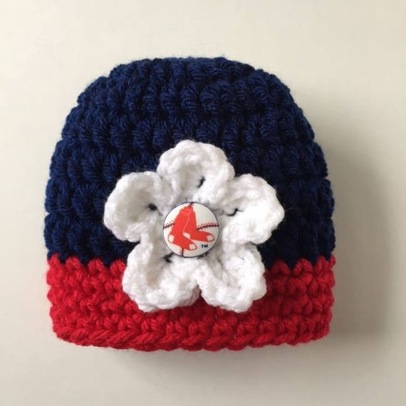 36b0f9b30 ... wholesale boston red sox baby girl hat crocheted hat with removable  etsy 6910f abf3d