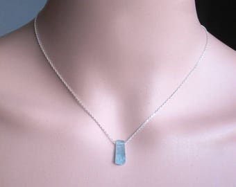 Raw Aquamarine Sterling Silver or 14 K Gold Filled Necklace - Rough Aquamarine Jewelry - March birthstone necklace