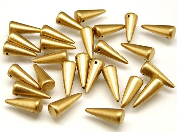 20pcs Czech Spike//Cone Glass Beads Size 5x13mm opaque Rose Gold Topaz