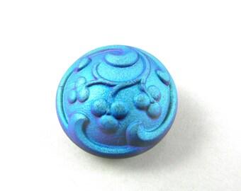 1 pc Hand Made Art Czech Glass Button size 10'', 22.5mm, Jet Blue AB (BUT163/10)