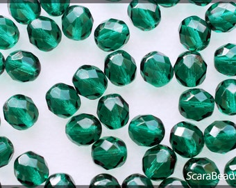 25pcs Czech Fire-Polished Faceted Glass Beads Round 8mm Emerald Green (8FP004)