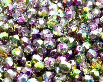 50pcs Czech Fire-Polished Faceted Glass Beads Round 6mm Magic Violet-Green (6FP014)