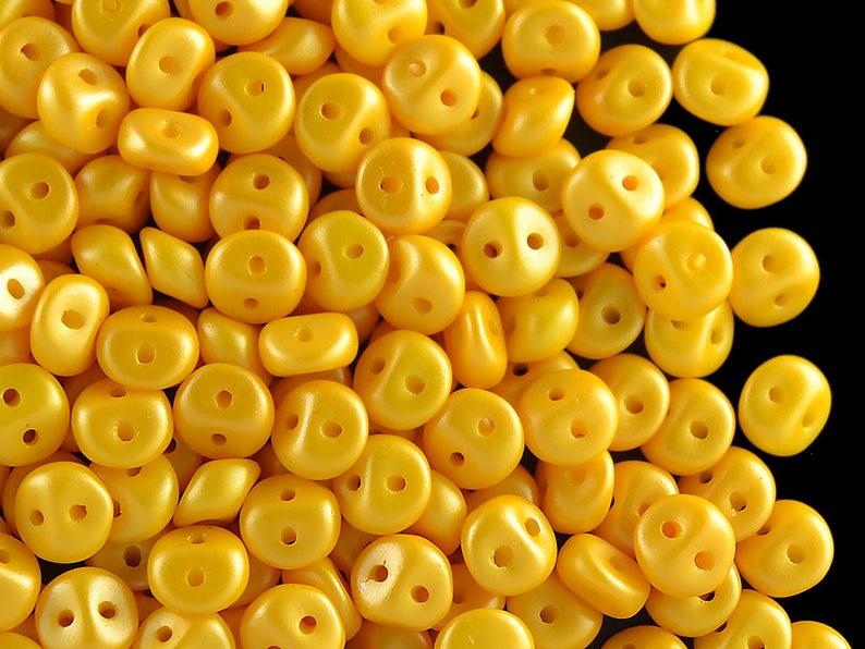 Czech Glass Alabaster Powder Dark Yellow 50pcs Es-O bead\u00ae 5mm ES038